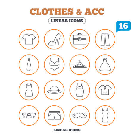 woman tie: Clothes and accessories icons. Shirt with tie, pants and woman dress symbols. Hat, hanger and glasses thin outline signs. Underwear and maternity clothes. Circle buttons on white. Vector