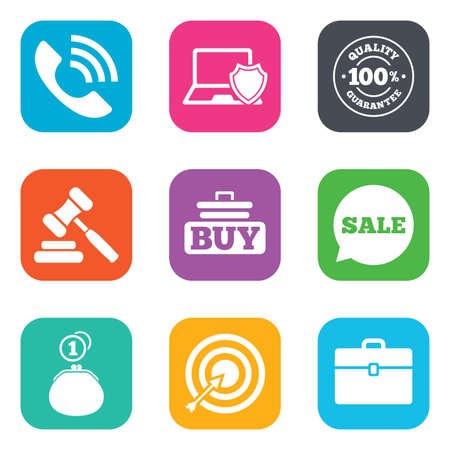 e auction: Online shopping, e-commerce and business icons. Auction, phone call and sale signs. Cash money, case and target symbols. Flat square buttons. Vector Illustration