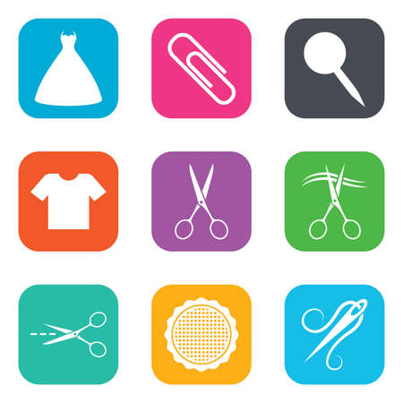 canva: Tailor, sewing and embroidery icons. Scissors, safety pin and needle signs. Shirt and dress symbols. Flat square buttons. Vector