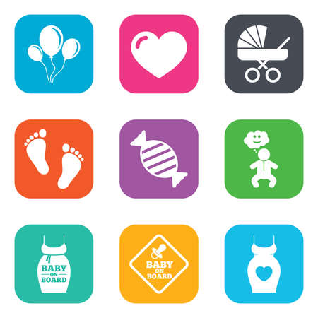 newborn footprint: Pregnancy, maternity and baby care icons. Newborn, strollers and pacifier signs. Footprint, candy and love symbols. Flat square buttons. Vector