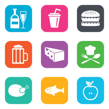 Food, drink icons. Beer, fish and burger signs. Chicken, cheese and apple symbols. Flat square buttons. Vector