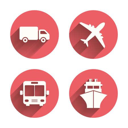 전송 아이콘. 트럭, 비행기, 공공 버스와 선박 표지판입니다. 배달 기호 배송. 에어 메일 배달 서명입니다. 핑크 원 그림자와 평평한 버튼. 벡터