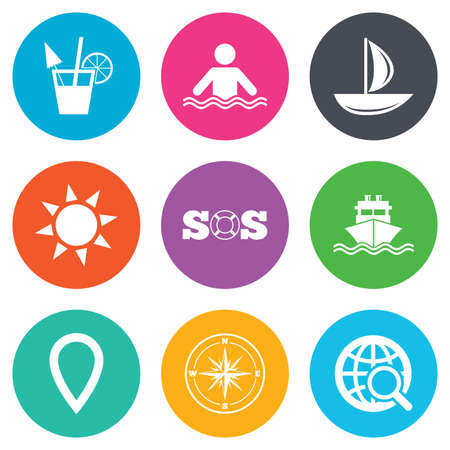 orange rose: Cruise trip, ship and yacht icons. Travel, cocktail and sun signs. Sos, windrose compass and swimming symbols. Flat circle buttons. Vector
