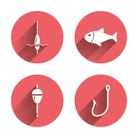 fisheries: Fishing icons. Fish with fishermen hook sign. Float bobber symbol. Pink circles flat buttons with shadow. Vector