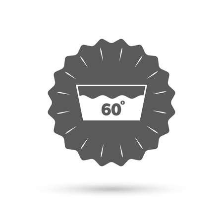 washbowl: Vintage emblem medal. Wash icon. Machine washable at 60 degrees symbol. Classic flat icon. Vector