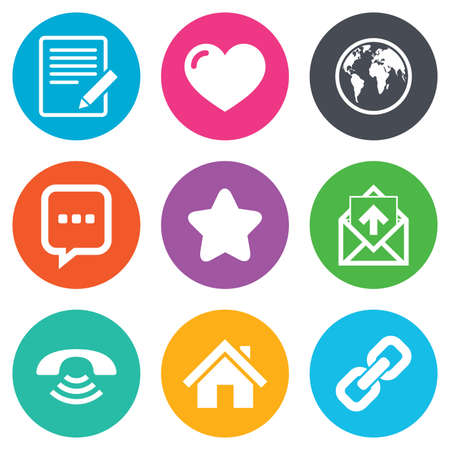 Mail, contact icons. Favorite, like and internet signs. E-mail, chat message and phone call symbols. Flat circle buttons. Vector