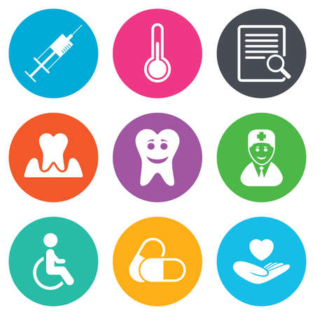 personne handicap�e: Medicine, medical health and diagnosis icons. Capsules, syringe and doctor signs. Tooth parodontosis, disabled person symbols. Flat circle buttons. Vector