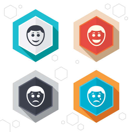 happy sad: Hexagon buttons. Human smile face icons. Happy, sad, cry signs. Happy smiley chat symbol. Sadness depression and crying signs. Labels with shadow. Vector