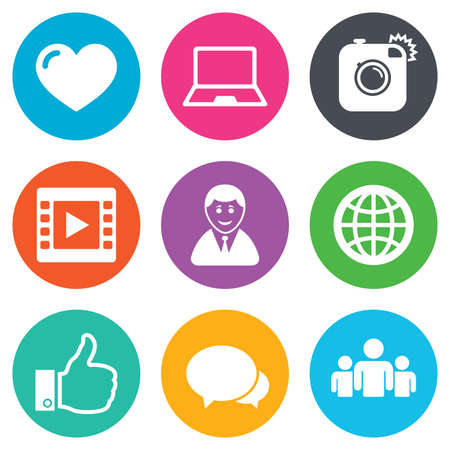 blog icon: Social media icons. Video, share and chat signs. Human, photo camera and like symbols. Flat circle buttons. Vector Illustration