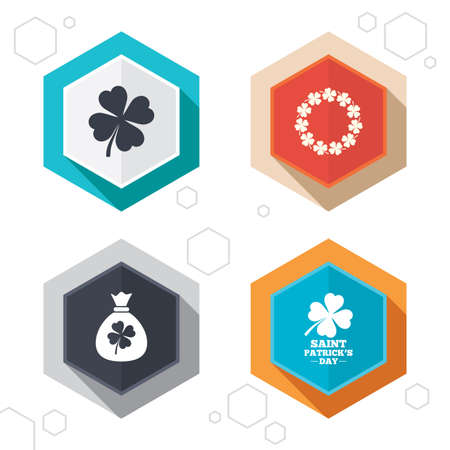 feast of saint patrick: Hexagon buttons. Saint Patrick day icons. Money bag with clover sign. Wreath of quatrefoil clovers. Symbol of good luck. Labels with shadow. Vector Illustration