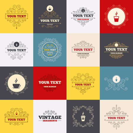 takeout: Vintage frames, labels. Coffee cup icon. Hot drinks glasses symbols. Take away or take-out tea beverage signs. Scroll elements. Vector