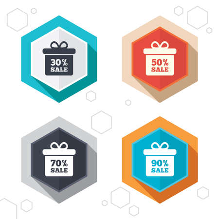 reductions: Hexagon buttons. Sale gift box tag icons. Discount special offer symbols. 30%, 50%, 70% and 90% percent sale signs. Labels with shadow. Vector