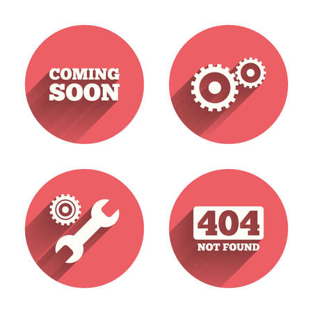 coming soon: Coming soon icon. Repair service tool and gear symbols. Wrench sign. 404 Not found. Pink circles flat buttons with shadow. Vector Illustration