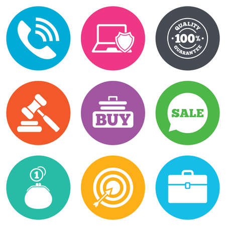 auction: Online shopping, e-commerce and business icons. Auction, phone call and sale signs. Cash money, case and target symbols. Flat circle buttons. Vector