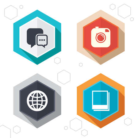 world  hexagon: Hexagon buttons. Social media icons. Chat speech bubble and world globe symbols. Hipster photo camera sign. Polaroid photo frames. Labels with shadow. Vector Illustration