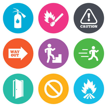 fire extinguisher sign: Fire safety, emergency icons. Fire extinguisher, exit and attention signs. Caution, water drop and way out symbols. Flat circle buttons. Vector