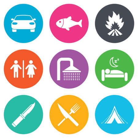 sleeping car: Hiking travel icons. Camping, shower and wc toilet signs. Tourist tent, fork and knife symbols. Flat circle buttons. Vector Illustration