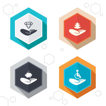 help: Hexagon buttons. Helping hands icons. Protection and insurance symbols. Financial money savings, save forest. Diamond brilliant sign. Disabled human. Labels with shadow. Vector Illustration