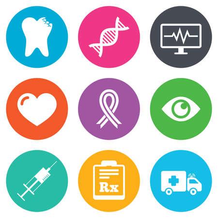 awareness ribbon: Medicine, healthcare and diagnosis icons. Tooth, syringe and ambulance signs. Dna, awareness ribbon symbols. Flat circle buttons. Vector