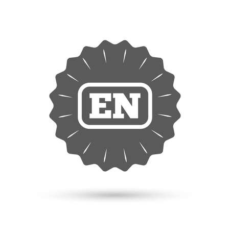 en: Vintage emblem medal. English language sign icon. EN translation symbol with frame. Classic flat icon. Vector