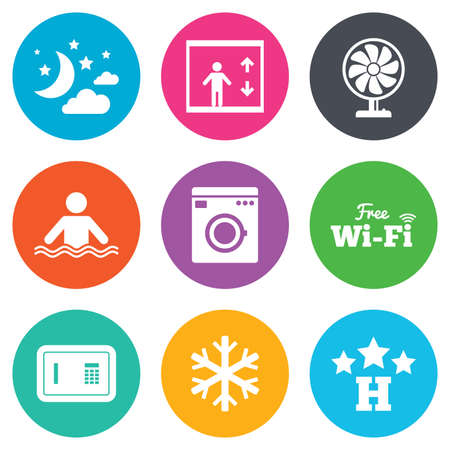 hotel pool: Hotel, apartment service icons. Washing machine. Wifi, air conditioning and swimming pool symbols. Flat circle buttons. Vector Illustration