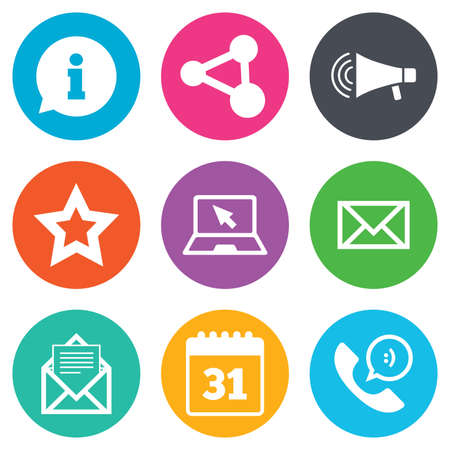 contact page: Communication icons. Contact, mail signs. E-mail, information speech bubble and calendar symbols. Flat circle buttons. Vector Illustration