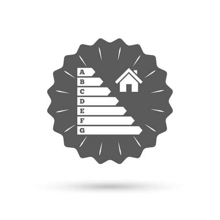 consumption: Vintage emblem medal. Energy efficiency icon. Electricity consumption symbol. House building sign. Classic flat icon. Vector