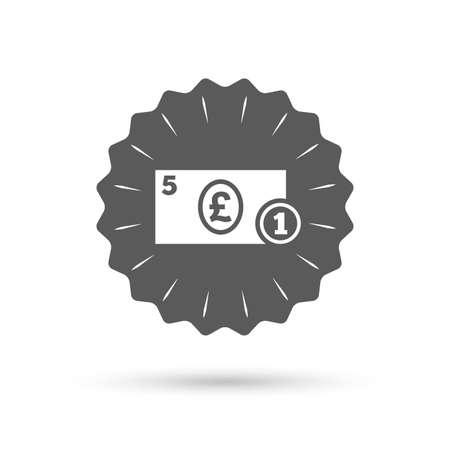 gbp: Vintage emblem medal. Cash sign icon. Pound Money symbol. GBP Coin and paper money. Classic flat icon. Vector Illustration