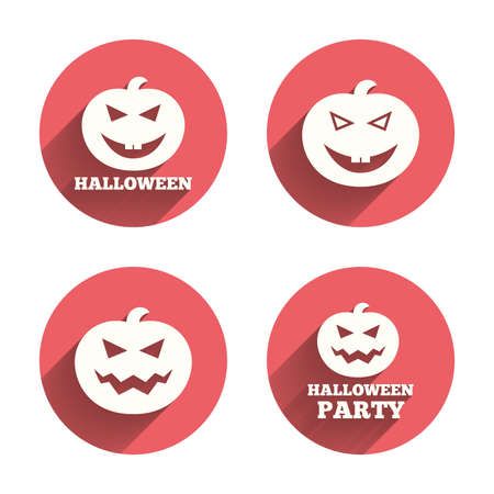 hallows: Halloween pumpkin icons. Halloween party sign symbol. All Hallows Day celebration. Pink circles flat buttons with shadow. Vector