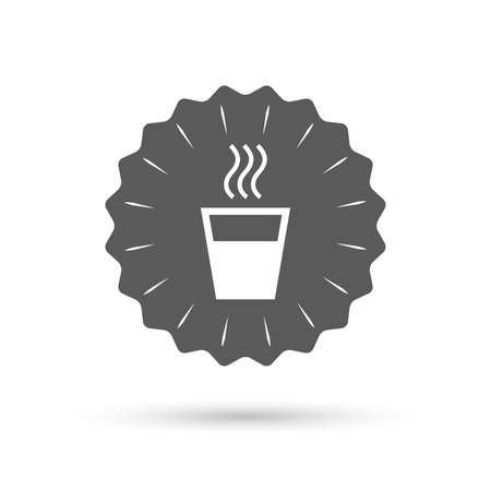 evaporation: Vintage emblem medal. Hot water sign icon. Hot drink glass symbol. Classic flat icon. Vector