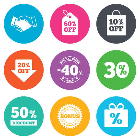 30 to 40: Sale discounts icon. Shopping, handshake and bonus signs. 20, 30, 40 and 50 percent off. Special offer symbols. Flat circle buttons. Vector