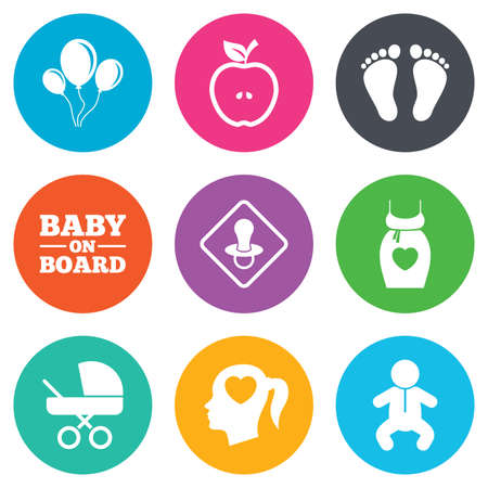 newborn footprint: Pregnancy, maternity and baby care icons. Air balloon, baby carriage and pacifier signs. Footprint, apple and newborn symbols. Flat circle buttons. Vector
