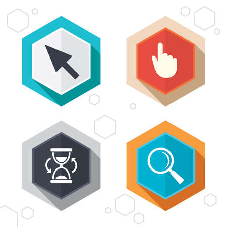 computer mouse icon: Hexagon buttons. Mouse cursor and hand pointer icons. Hourglass and magnifier glass navigation sign symbols. Labels with shadow. Vector Illustration