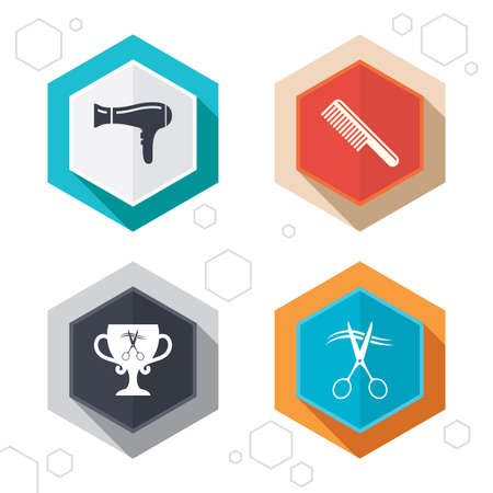 cut hair: Hexagon buttons. Hairdresser icons. Scissors cut hair symbol. Comb hair with hairdryer symbol. Barbershop winner award cup. Labels with shadow. Vector Illustration