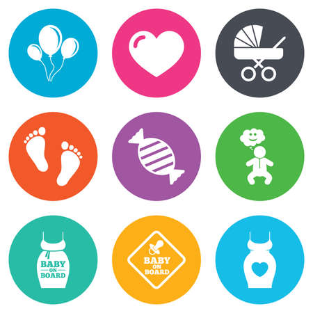 newborn footprint: Pregnancy, maternity and baby care icons. Newborn, strollers and pacifier signs. Footprint, candy and love symbols. Flat circle buttons. Vector