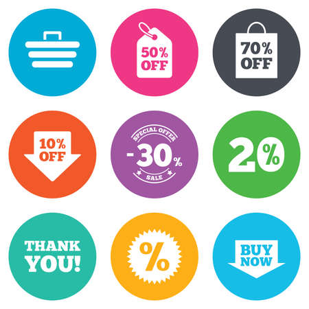 you are special: Sale discounts icon. Shopping cart, coupon and buy now signs. 20, 30 and 50 percent off. Special offer symbols. Flat circle buttons. Vector