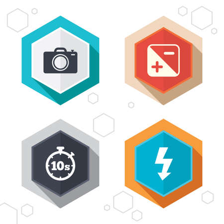 seconds: Hexagon buttons. Photo camera icon. Flash light and exposure symbols. Stopwatch timer 10 seconds sign. Labels with shadow. Vector Illustration