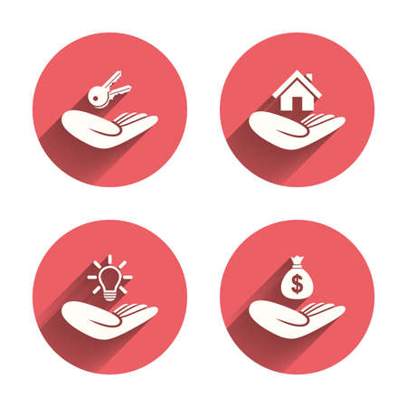 donating: Helping hands icons. Financial money savings insurance symbol. Home house or real estate and lamp, key signs. Pink circles flat buttons with shadow. Vector Illustration