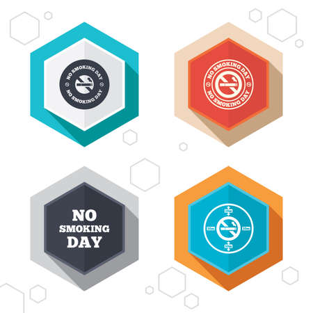 no edges: Hexagon buttons. No smoking day icons. Against cigarettes signs. Quit or stop smoking symbols. Labels with shadow. Vector