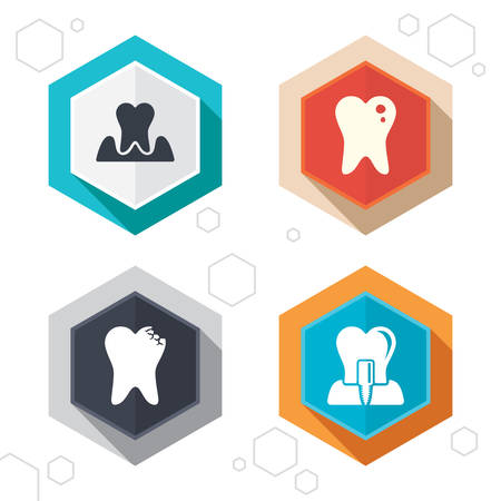 gingivitis: Hexagon buttons. Dental care icons. Caries tooth sign. Tooth endosseous implant symbol. Parodontosis gingivitis sign. Labels with shadow. Vector Illustration