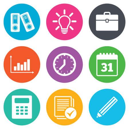contabilidad: Oficina, los documentos y los iconos de negocios. Contabilidad, calculadora y casos de señales. Inspiración, calendario y estadísticas símbolos. Botones planos círculo. Vector