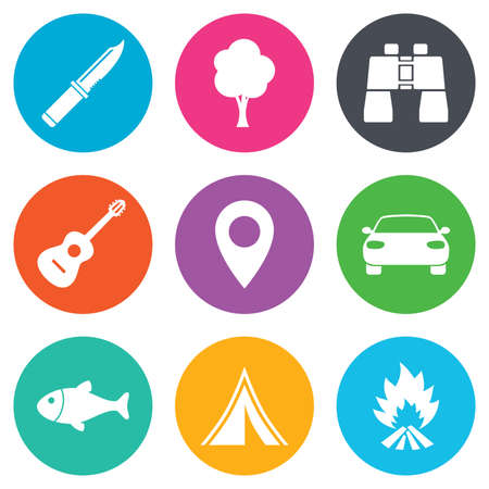 icon red: Camping, tourism icons. Fishing, campfire and tent signs. Guitar music, knife and binoculars instruments. Flat circle buttons. Vector