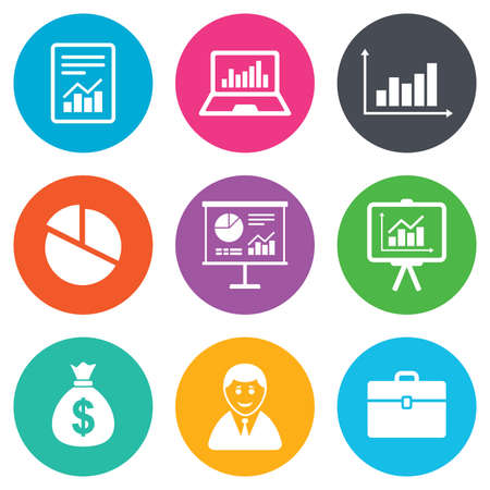 business case: Statistics, accounting icons. Charts, presentation and pie chart signs. Analysis, report and business case symbols. Flat circle buttons. Vector