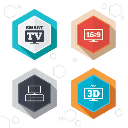 3d mode: Hexagon buttons. Smart TV mode icon. Aspect ratio 16:9 widescreen symbol. 3D Television and TV table signs. Labels with shadow. Vector