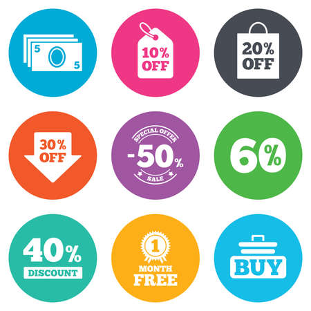 40 50: Sale discounts icon. Shopping cart, buying and cash money signs. 40, 50 and 60 percent off. Special offer symbols. Flat circle buttons. Vector