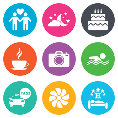 sleeping car: Hotel, apartment service icons. Swimming pool. Ventilation, birthday party and gay-friendly symbols. Flat circle buttons. Vector