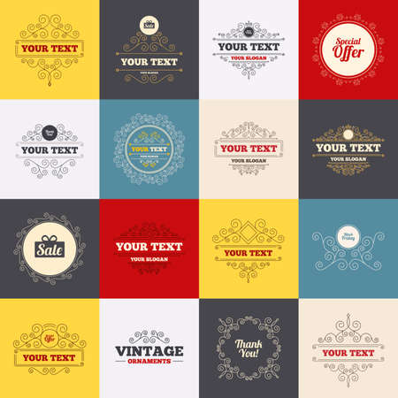 you are special: Vintage frames, labels. Sale icons. Special offer and thank you symbols. Gift box sign. Scroll elements. Vector Illustration