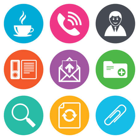 office documents: Office, documents and business icons. Coffee, phone call and businessman signs. Safety pin, magnifier and mail symbols. Flat circle buttons. Vector Illustration