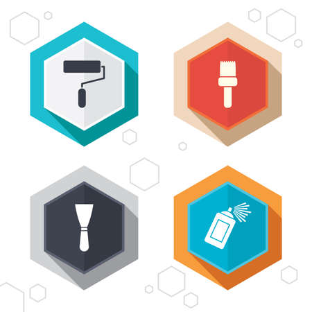 Hexagon buttons. Paint roller, brush icons. Spray can and Spatula signs. Wall repair tool and painting symbol. Labels with shadow. Vector