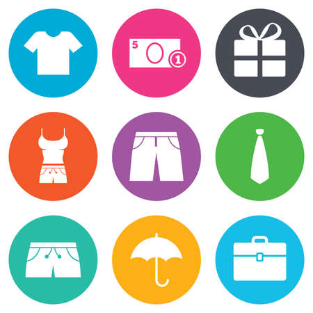 business case: Clothing, accessories icons. T-shirt, business case signs. Umbrella and gift box symbols. Flat circle buttons. Vector